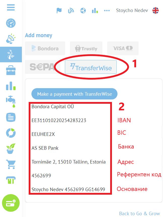 депозит в Bondora с TransferWise и Paysera