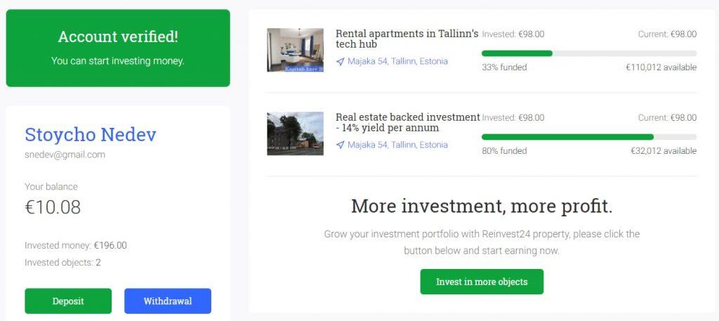 Reivest24 ревю недвижими имоти P2P доход от наем