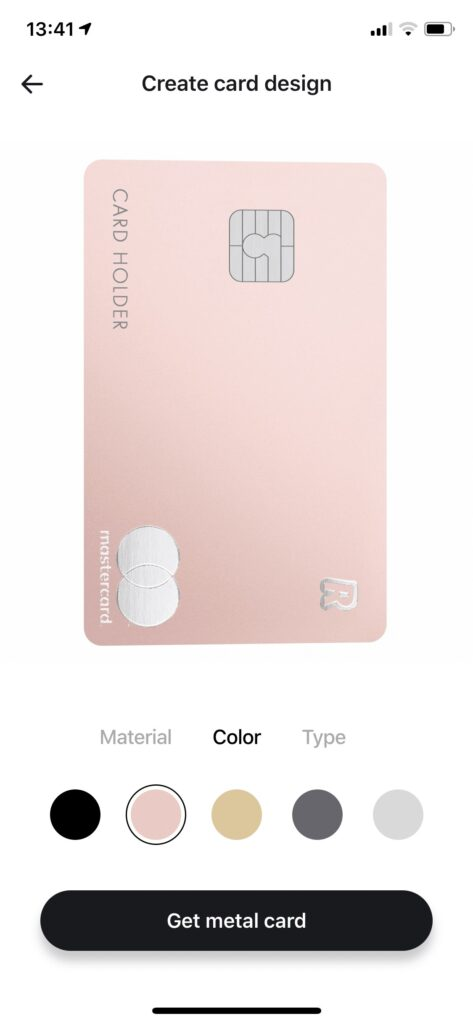 Revolut Rose Gold метални карти