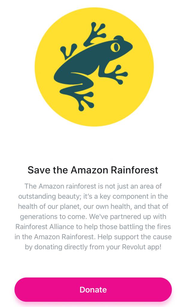 Revolut кампания в помощ на Амазония