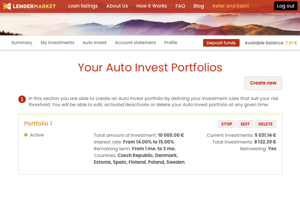 Lendermarket автоматично инвестиране